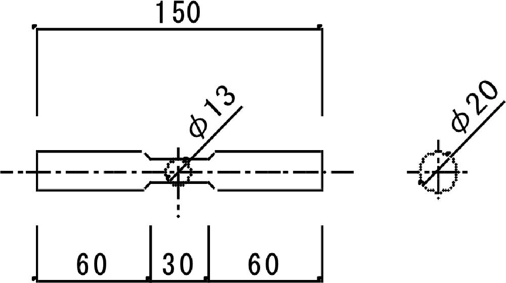 特殊鋼製ダボ姿図